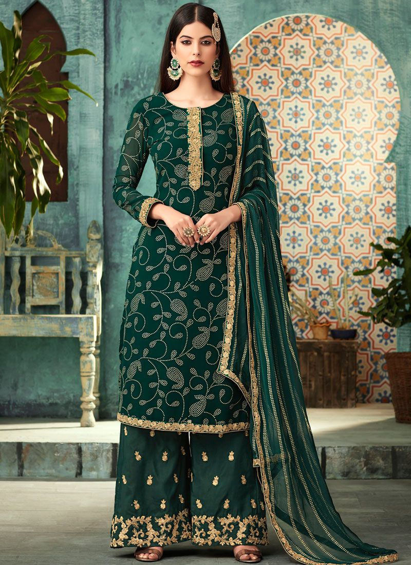 Green Wedding Palazzo Designer Suit