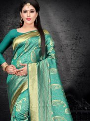 Green Woven Art Silk Designer Saree
