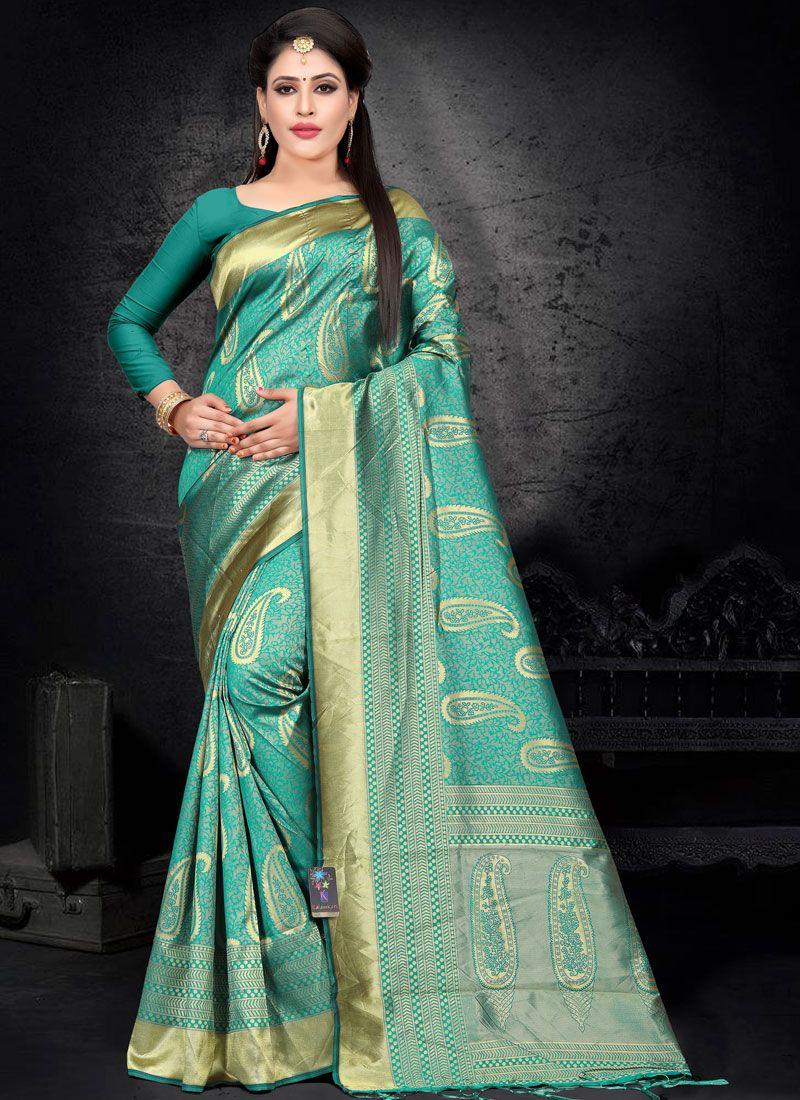 Green Woven Art Silk Designer Saree