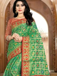 Green Woven Art Silk Traditional Designer Saree