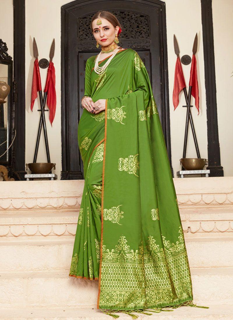 Green Woven Art Silk Traditional Saree