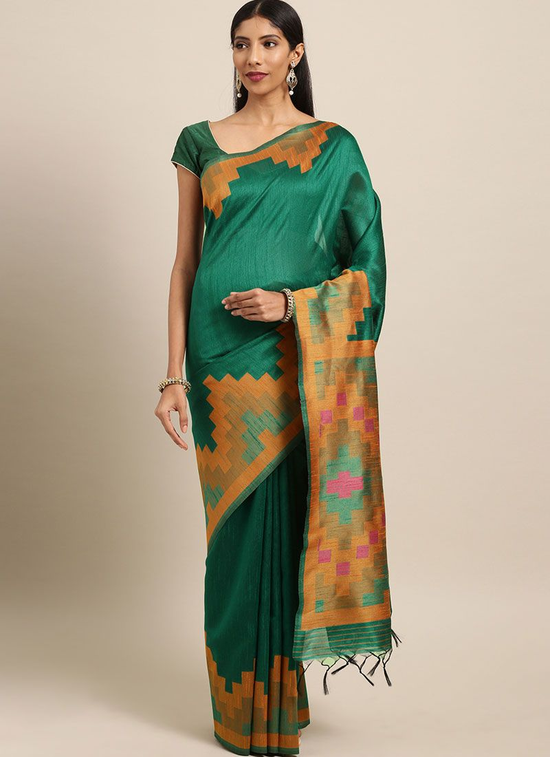 Green Woven Festival Traditional Saree