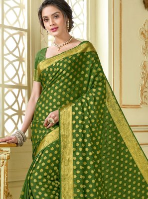 Green Woven Party Traditional Saree