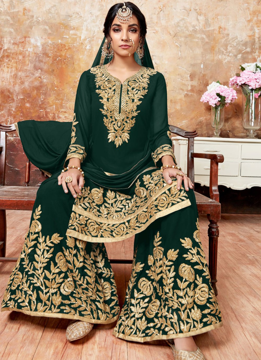 Green Zari Designer Pakistani Suit