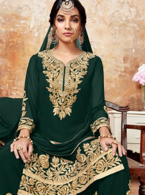 Green Zari Designer Pakistani Suit