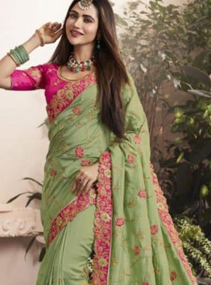 Green Zari Georgette Classic Saree