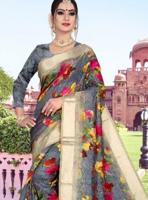Grey Abstract Print Cotton Printed Saree