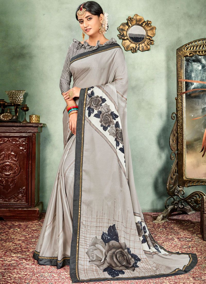 Grey Abstract Print Faux Chiffon Printed Saree