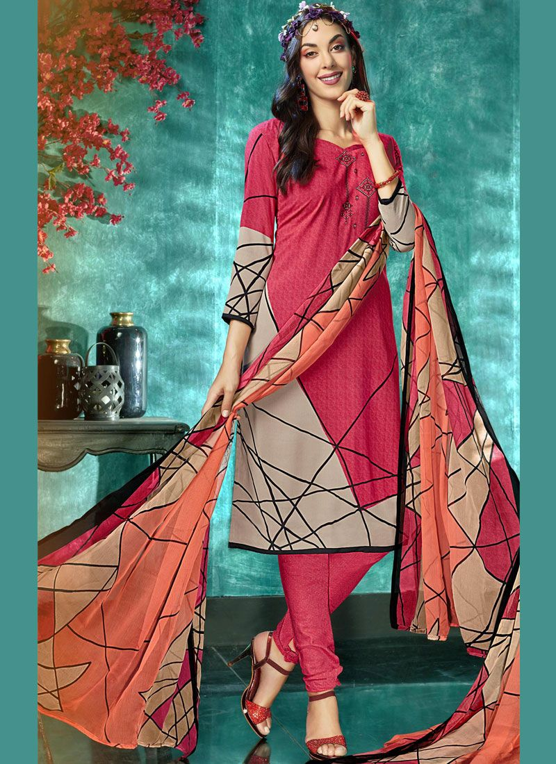 Grey and Hot Pink Printed Faux Crepe Salwar Kameez