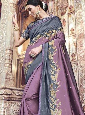 Grey and Lavender Banarasi Silk Traditional Designer Saree