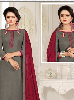 Grey and Maroon Embroidered Festival Trendy Churidar Salwar Kameez
