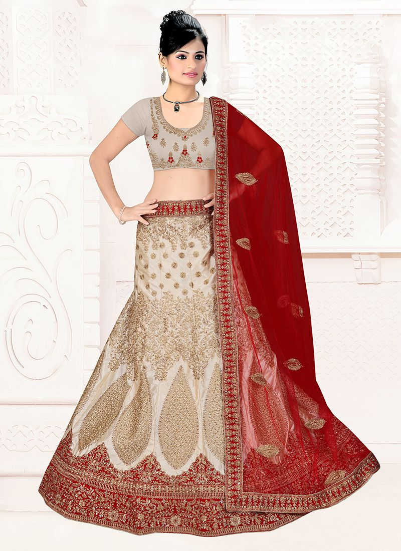 Grey and Maroon Lace Satin Silk Lehenga Choli