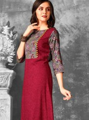 Grey and Maroon Rayon Party Wear Kurti