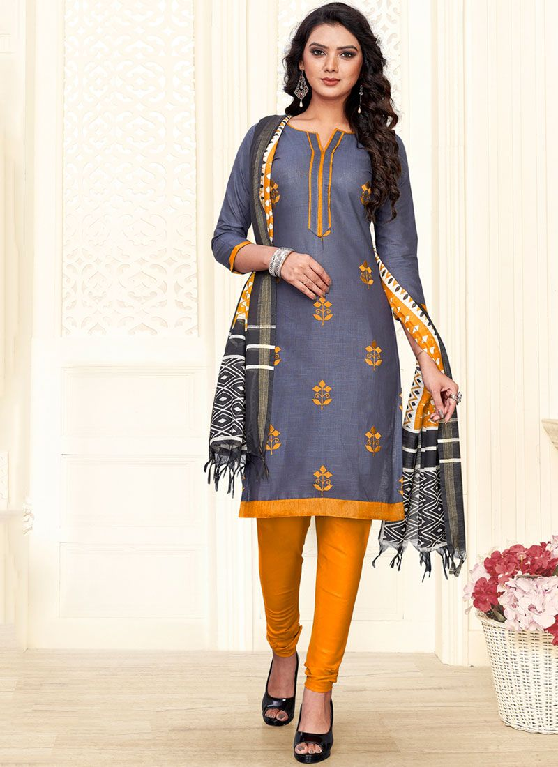 Grey and Mustard Cotton Churidar Suit