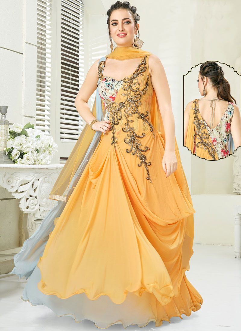 Grey and Mustard Silk Party Anarkali Suit