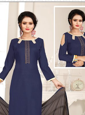 Grey and Navy Blue Mehndi Churidar Suit