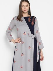 Grey and Navy Blue Print Party Wear Kurti