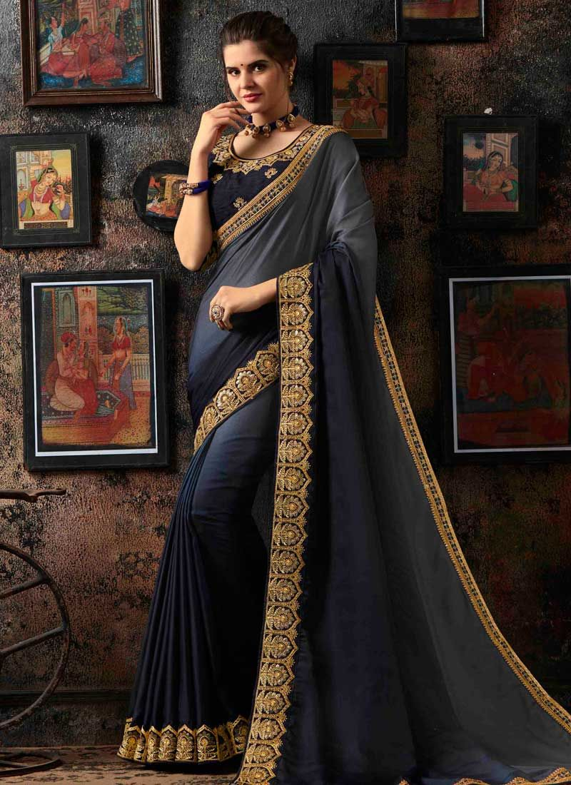 Grey and Navy Blue Shaded Saree