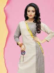 Grey and Off White Cotton Party Wear Kurti