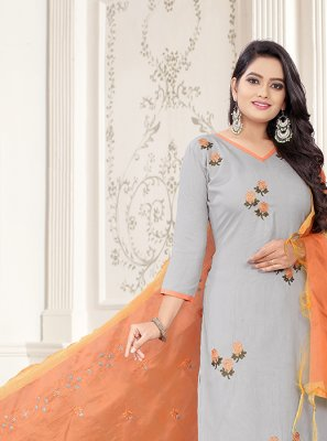 Grey and Orange Cotton Embroidered Churidar Designer Suit