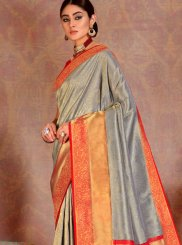 Grey and Orange Silk Reception Traditional Designer Saree