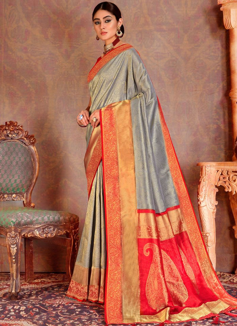 Grey and Orange Silk Reception Traditional Designer Saree