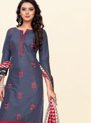 Grey and Red Cotton Churidar Salwar Kameez