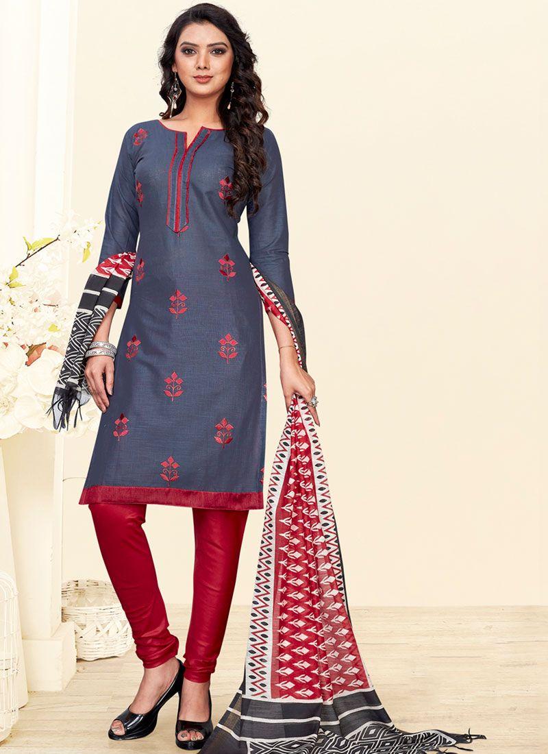 Grey and Red Cotton Churidar Salwar Kameez