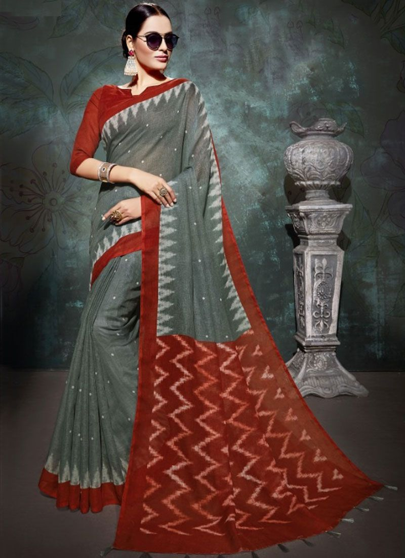 Grey and Red Party Printed Saree