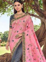 Grey and Rose Pink Party Banarasi Silk Traditional Designer Saree