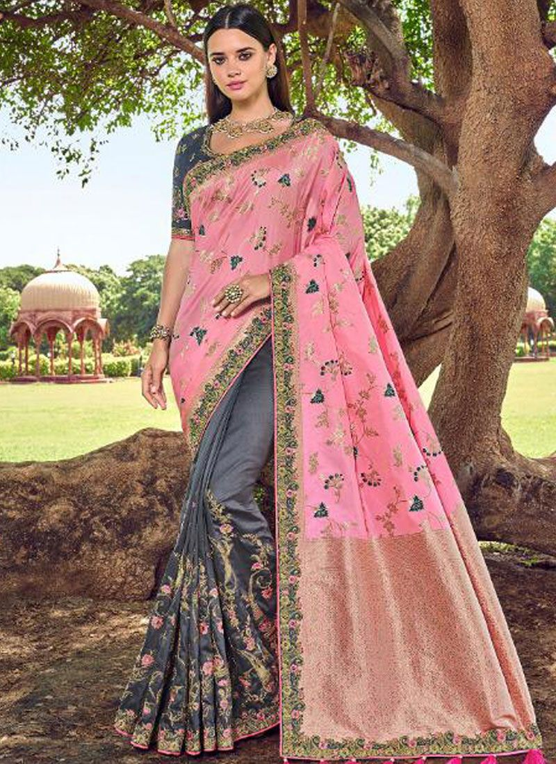 Grey and Rose Pink Party Banarasi Silk Traditional Designer Saree