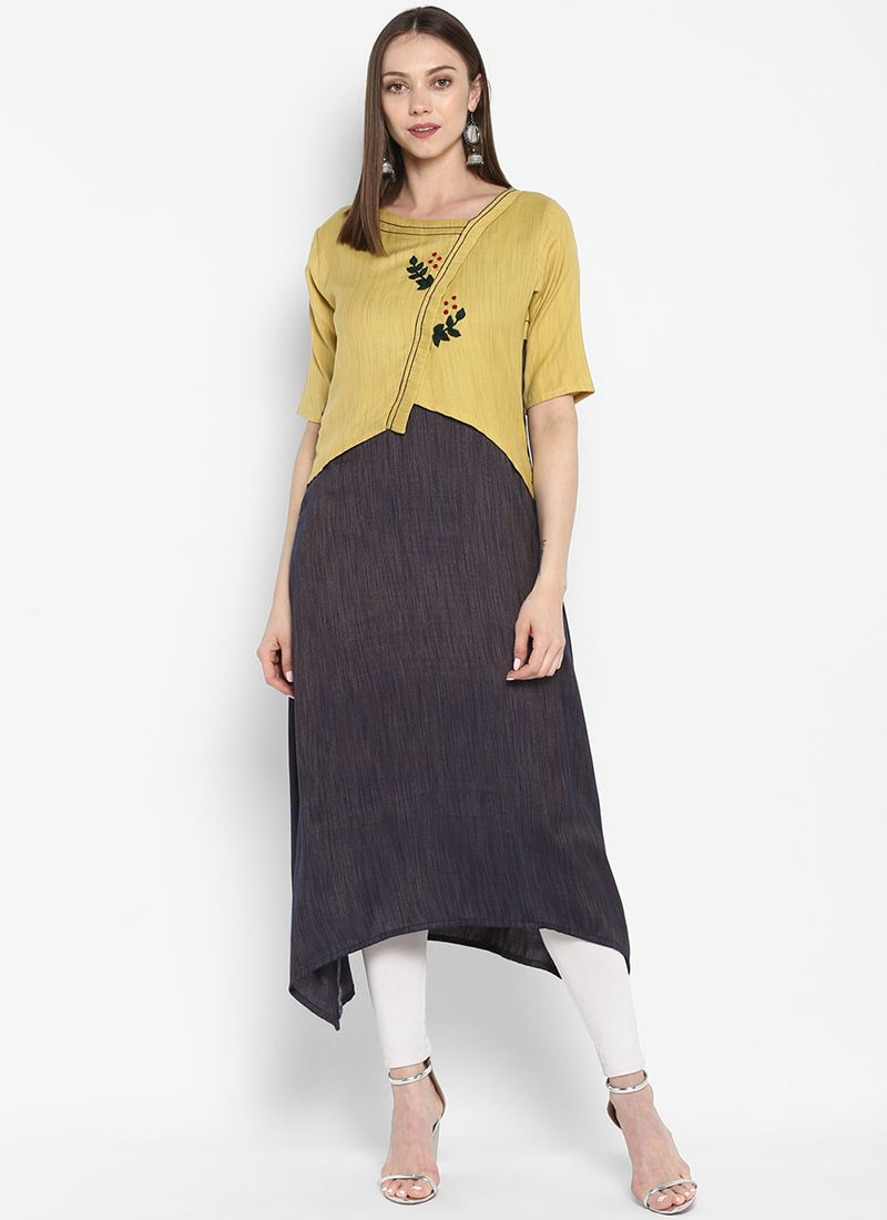 Grey and Yellow Casual Party Wear Kurti