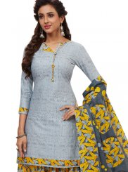 Grey and Yellow Color Patiala Salwar Suit