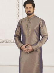 Grey Art Banarasi Silk Wedding Kurta Pyjama
