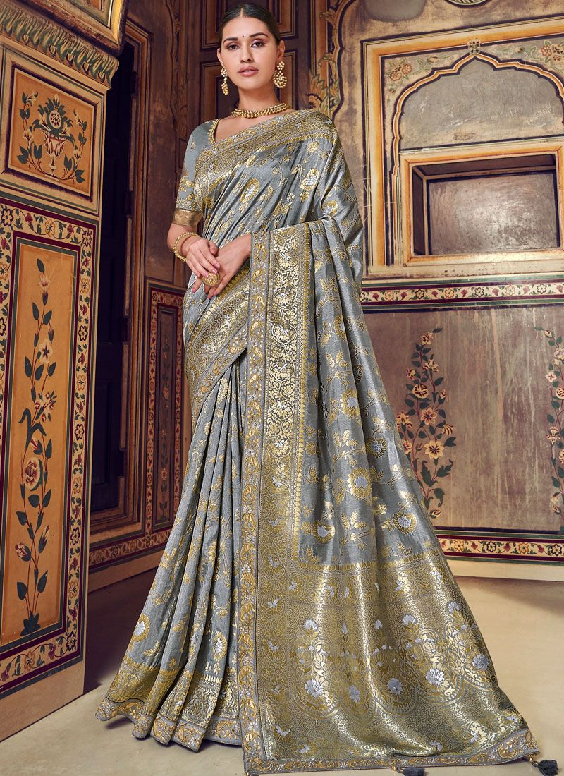 Grey Art Silk Bridal Designer Traditional Saree