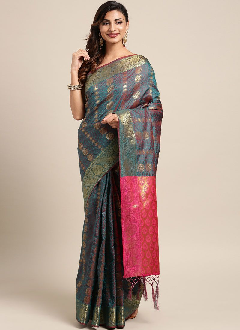 Grey Art Silk Ceremonial Traditional Designer Saree