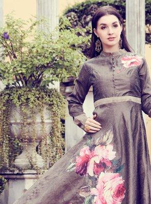 Grey Art Silk Designer Kurti