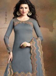 Grey Art Silk Designer Pakistani Suit