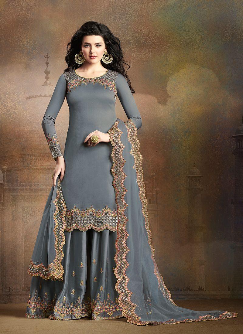 Grey Art Silk Embroidered Palazzo Designer Salwar Suit