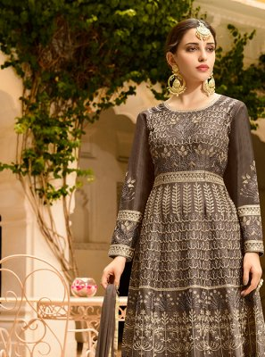 Grey Art Silk Floor Length Anarkali Suit