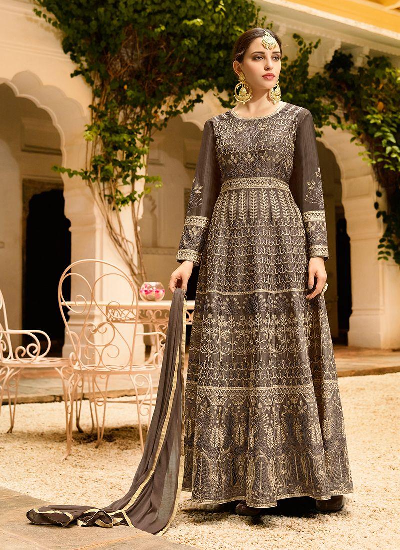 Grey Art Silk Floor Length Anarkali Suit