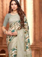Grey Art Silk Printed Saree