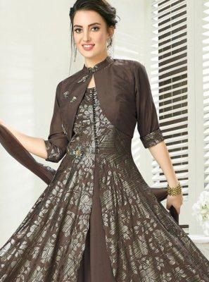 Grey Art Silk Readymade Gown