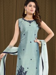 Grey Art Silk Readymade Suit