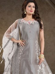 Grey Art Silk Resham Readymade Suit