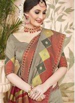 Grey Art Silk Traditional Designer Saree