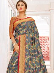 Grey Art Silk Traditional Saree