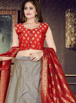 Grey Art Silk Weaving Readymade Lehenga Choli