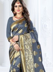 Grey Art Silk Weaving Traditional Saree