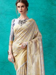 Grey Banarasi Silk Designer Saree